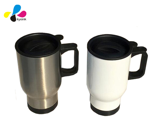 White color and silver color 15 oz Travel mug/Commuter Mug
